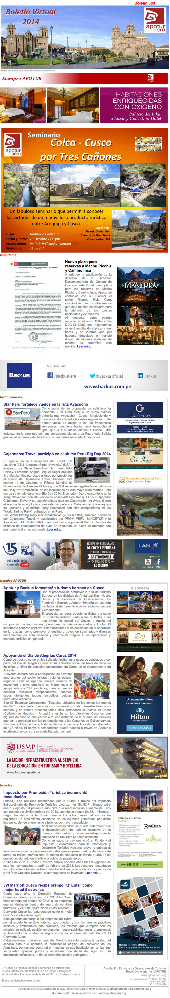 Boletín Apotur N° 8 - Octubre 2014