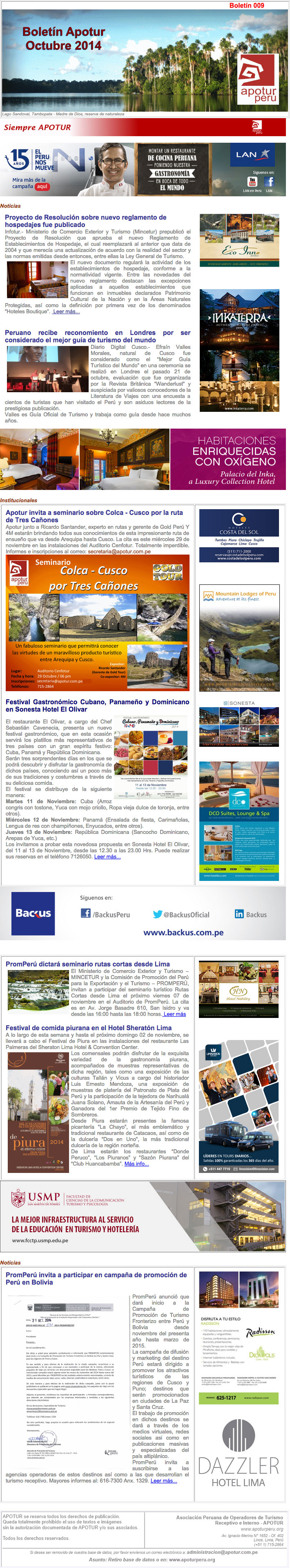 Boletín Apotur N° 9 - Octubre 2014